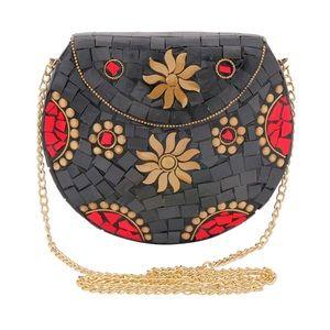 Handbags - Black Sun Mosaic Brass Metal Clutch